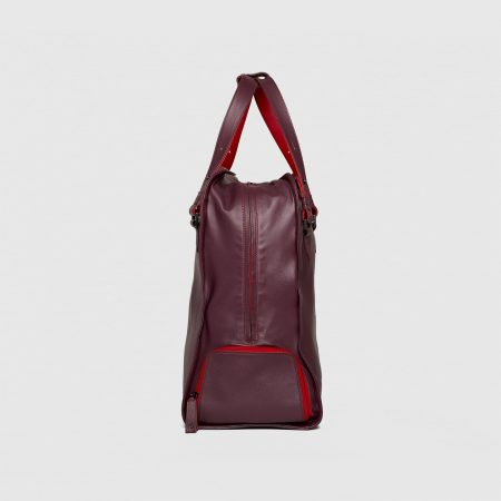 Maxi Tote in Deep Burgundy with shoe compartment. Side View